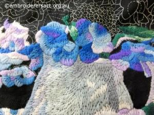 Gail Haidon - Blue Wool Embroidery close up