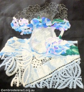Gail Haidon Blue and White Wool Embroidery in Progress