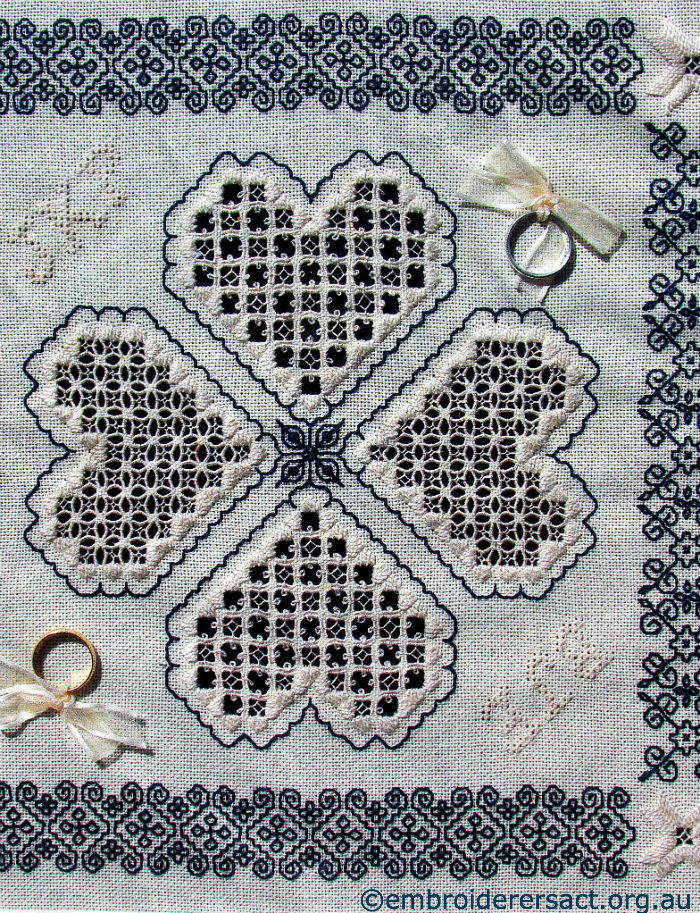 Blackwork & Hardanger Ring Cushion