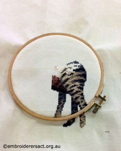 Joyce Lynch - back of x stitch cat