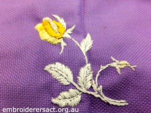 Kathy Pascoe Purple Tablecloth with Yellow Rose