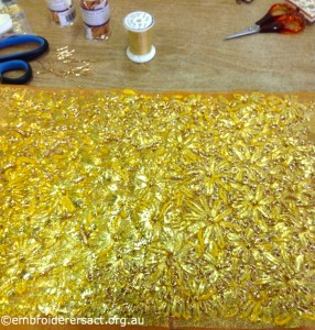 Margaret Lamond - Gold embroidery in progress