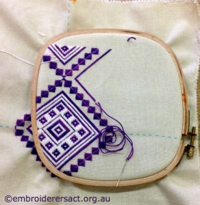 Margaret OBeirne  Purple Canvaswork in Hoop