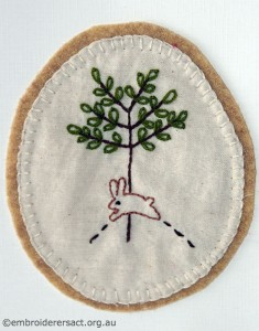 Rabbit and tree card stitched by Jillian Bath