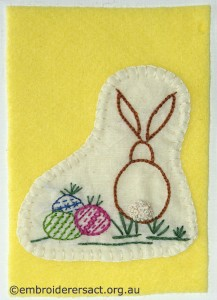 Rabbit on Yellow Background Card stitched by Jillian Bath