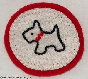 Scottie Dog brooch stitched by Jillian Bath