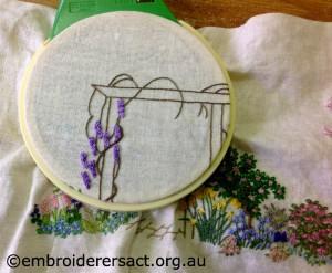 Sue Scorgie - Close up of Diana Lampe design in hoop