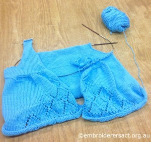 Blue Knitted Childs Dress by Mary Bowron