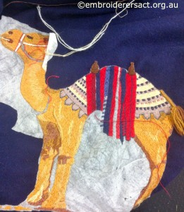 Camel in progress from Wool Blanket being stitched by Yvonne Kingsley