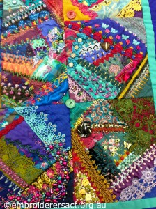 Close up of Crazy Patchwork by Sharon Boggon