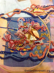 Closer View of Contemporary Embroidery by Sharon Boggon