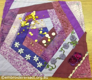 Crazy Patchwork Square in Progress by Christine Bailey