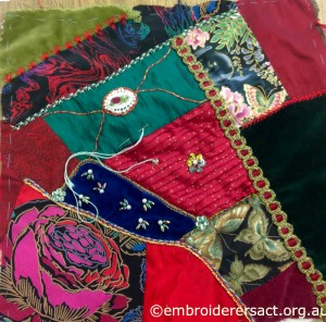 Crazy Quilt Block 1 by Pat Bootland