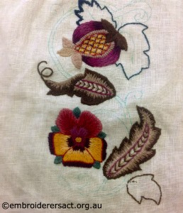 Crewel work in progress by Jenny Baldessin