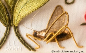 Cricket Detail from Bottom Panel on Jane Nicholas Mirror 1 stitched by Lorna Loveland
