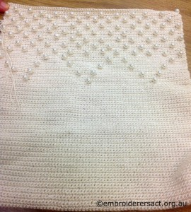 Crocheted Bag with Pearls by Lee Scott