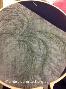 Date Palm on Wool blanket stitched by Yvonne Kingsley