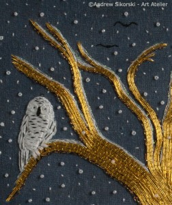 Detail of Snowy Owl in Goldwork and Or Nue Work by Pat Bootland