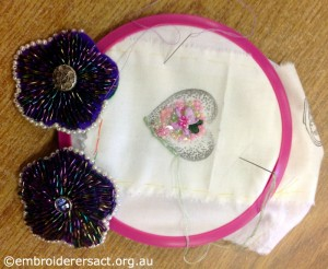 Dorothy Rudling Beaded Flowers with stitched Heart in progress