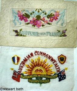 Embroidered Postcard WW1 Postcard taken by Stewart Bath at Clairmont RSL