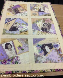 Family History Photo Quilt in Crazy Patchwork by Annette Dziedzic