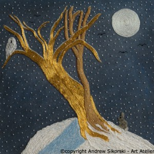 Goldwork and Or Nue Snowy Owl and Rabbit by Pat Bootland 2
