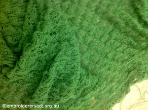 Green Knitted Lace Shawl 2 by Lee Scott