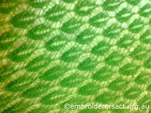 Green Lace Knitted Shawl by Lee Scott