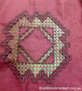 Hardanger on Red Fabric in Progress stitched by Catherine Fetherstone