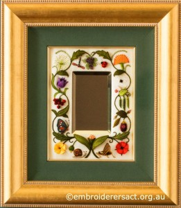 Jane Nicholas Mirror 1 in frame stitched by Lorna Loveland