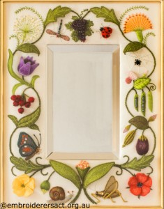Jane Nicholas Mirror 1 unframed stitched by Lorna Loveland