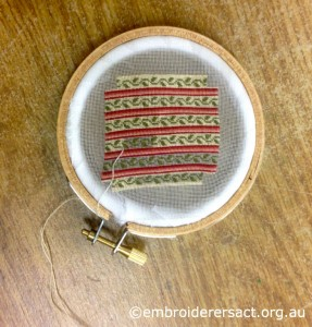 Miniature Footstool cover stitched by Sarah Kimmorley