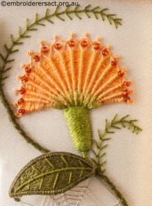 Needlewoven Flower Detail from Top Panel on Jane Nicholas Mirror 1 stitched by Lorna Loveland