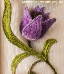 Purple Flower Detail from Left Hand Panel on Jane Nicholas Mirror 1 stitched by Lorna Loveland