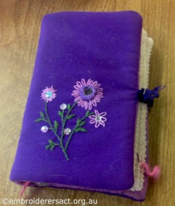 Purple Notebook with Beaded Flowers