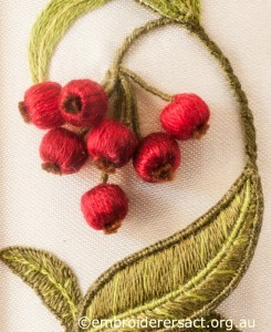 Red Berry Detail from Left Hand Panel on Jane Nicholas Mirror 1 stitched by Lorna Loveland