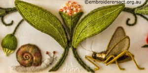 Snail and Cricket Details on Bottom Panel on Jane Nicholas Mirror 1 stitched by Lorna Loveland