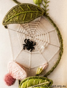 Spider Detail from Right Panel of Jane Nicholas Mirror stitched by Lorna Loveland