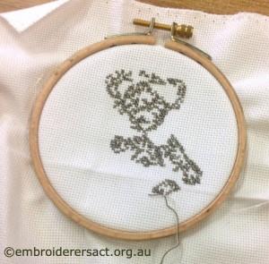 Tweed style Teddy bear x-stitched by Jan Senti