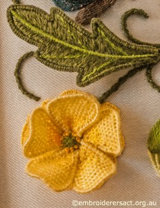Yellow Flower Detail on Jane Nicholas Mirror 1 stitched by Lorna Loveland