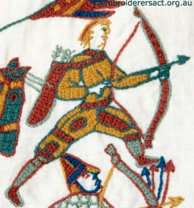 Archer 2 on Bayeux Panel stitched by Gail Haidon