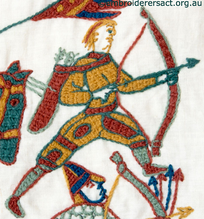 Gail and her bayeux tapestry panel embroiderers guild act