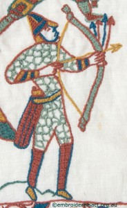 Archer from Bayeux Panel stitched by Gail Haidon