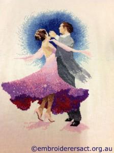 Ballroom Dancers x-stitched by Irene Burton