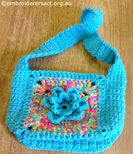 Blue Crochet Bag by Irene Burton