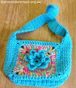 Blue Crochet Bag by Irene Burton