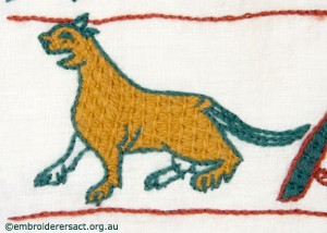 Cat on Bayeux Panel stitched by Gail Haidon