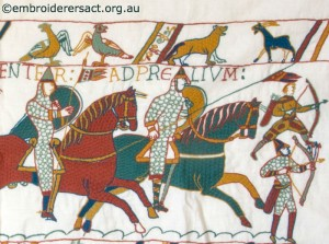 Cavalrymen leading Charge in Bayeux Panel stitched by Gail Haidon