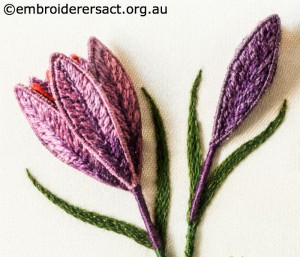 Close-up of Stumpwork Crocus Flowers stitched by Lorna Loveland