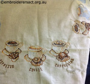 Coffee Cups x-stitched by Delma Burgdorf